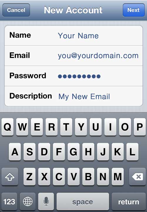 Enter iPhone Email Account Details