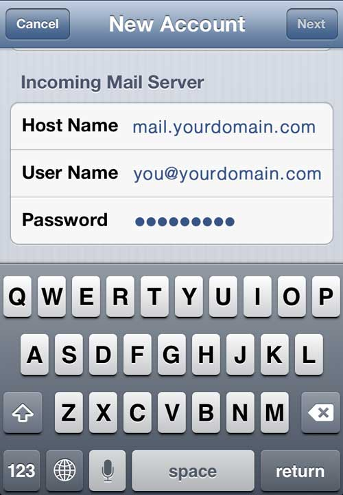 iPhone Incoming Mail Server Settings