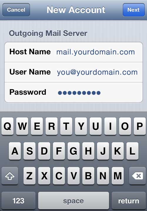 iPhone Outgoing Mail Server
