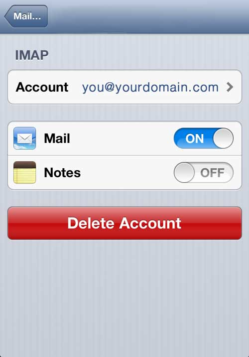 Edit your iPhone Email account