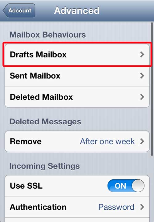 Select Drafts Mailbox On Server